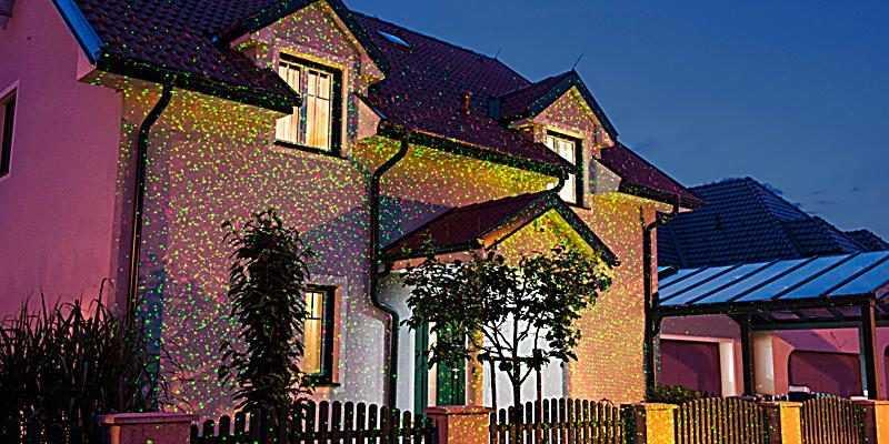 Hauswand mit Star Shower Laser